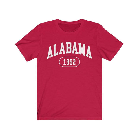 Printify T-Shirt Red / L Alabama 1992 | Unisex Jersey Short Sleeve Tee