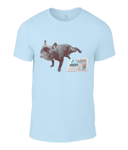 Image of Fuzzbooster Clothing Light Blue / Small Anvil Fashion Basic T-Shirt What my Frenchie thinks of Brexit