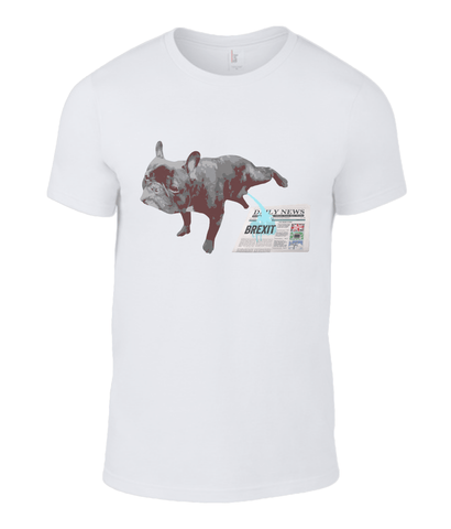 Image of Fuzzbooster Clothing White / Small Anvil Fashion Basic T-Shirt What my Frenchie thinks of Brexit