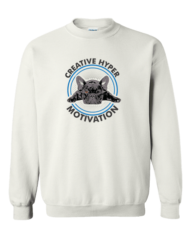 Image of PrintTech Adult Crewneck Sweat Shirt S / White CREATIVE HYPER MOTIVATION | Adult Crewneck Sweat Shirt