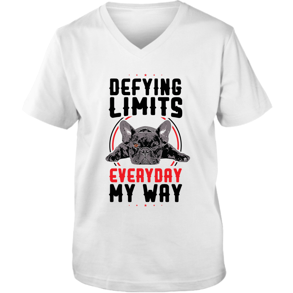 PrintTech Adult Unisex Vneck Tee S / White DEFYING LIMITS, EVERYDAY, MY WAY | Adult Unisex Vneck Tee