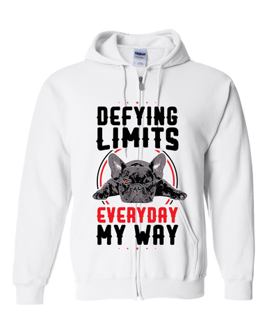 PrintTech Adult Zipper Hoodie S / White DEFYING LIMITS, EVERYDAY, MY WAY | Adult Zipper Hoodie