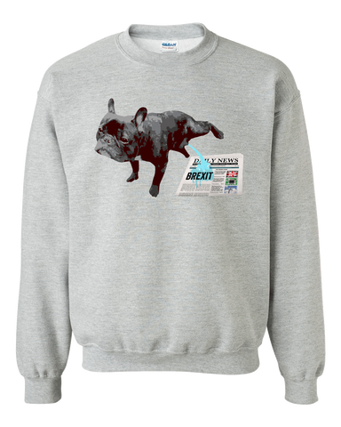 Image of PrintTech Adult Crewneck Sweat Shirt S / Athletic Heather FRENCH BULLDOG BREXIT | Adult Crewneck Sweat Shirt
