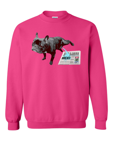 PrintTech Adult Crewneck Sweat Shirt S / Cyber Pink FRENCH BULLDOG BREXIT | Adult Crewneck Sweat Shirt