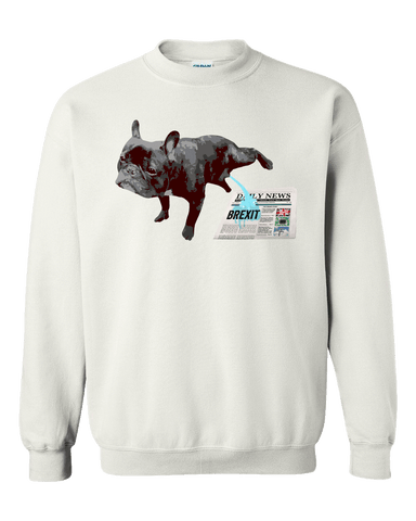 PrintTech Adult Crewneck Sweat Shirt S / White FRENCH BULLDOG BREXIT | Adult Crewneck Sweat Shirt
