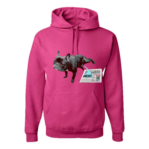 PrintTech Adult Hoodie S / Cyber Pink FRENCH BULLDOG BREXIT | Adult Hoodie