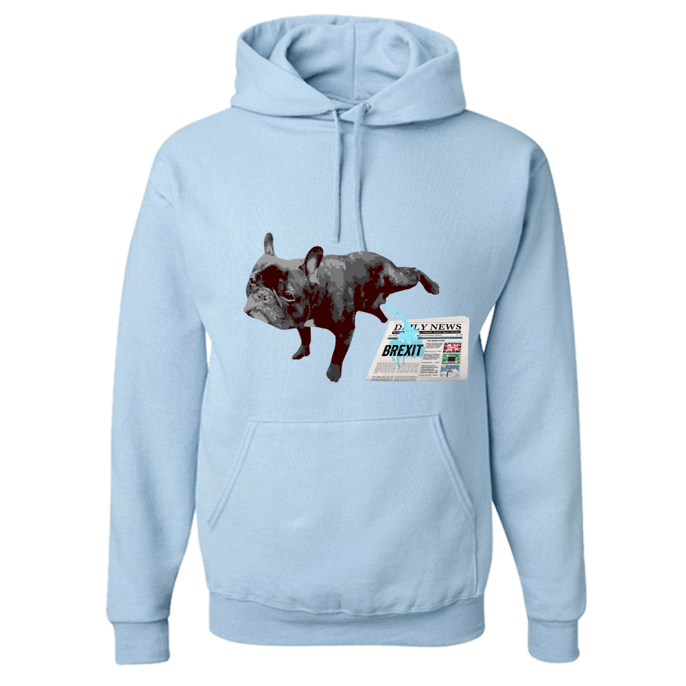 PrintTech Adult Hoodie S / Light Blue FRENCH BULLDOG BREXIT | Adult Hoodie