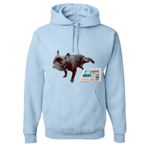 Image of PrintTech Adult Hoodie S / Light Blue FRENCH BULLDOG BREXIT | Adult Hoodie