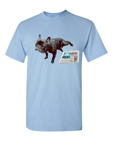 Image of PrintTech Adult Unisex T-Shirt S / Light Blue FRENCH BULLDOG BREXIT | Adult Unisex T-Shirt