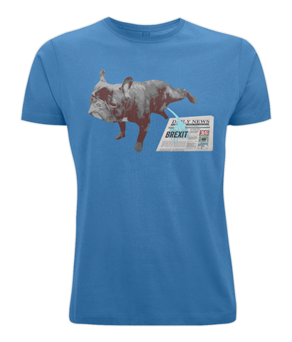 Image of Fuzzbooster Clothing Bright Blue / X-Small FRENCH BULLDOG BREXIT | Classic Jersey Men's/Unisex T-Shirt