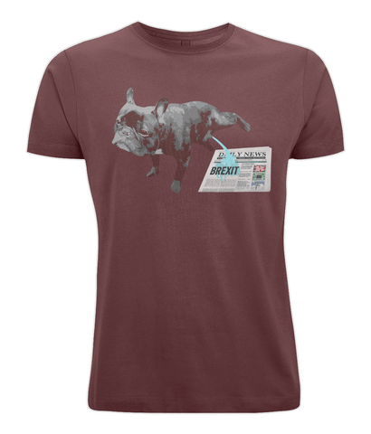 Image of Fuzzbooster Clothing Burgundy / X-Small FRENCH BULLDOG BREXIT | Classic Jersey Men's/Unisex T-Shirt