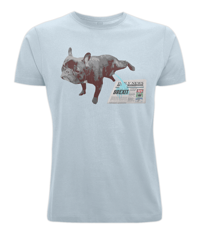 Image of Fuzzbooster Clothing Light Blue / X-Small FRENCH BULLDOG BREXIT | Classic Jersey Men's/Unisex T-Shirt