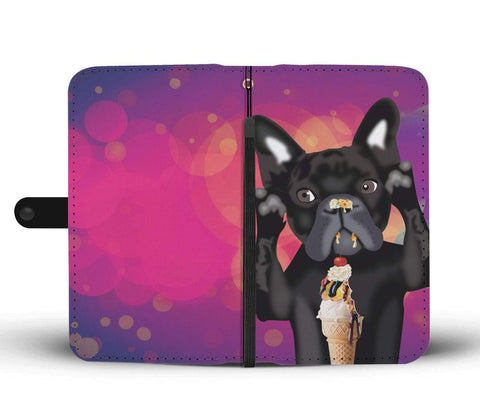 Image of wc-fulfillment Wallet Case iPhone X / Xs INNOCENT FRENCH BULLDOG | Pink Wallet Phone Case