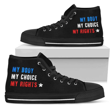 Image of Fuzzbooster Womens High Top - Black - My Body My Choice My Rights | High Top Sneakers | Black / US5.5 (EU36) My Body My Choice My Rights | High Top Sneakers | Black