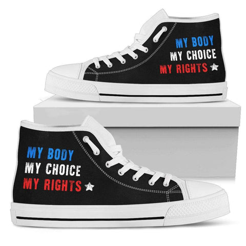 Image of Fuzzbooster Womens High Top - White - My Body My Choice My Rights | High Top Sneakers | White / US5.5 (EU36) My Body My Choice My Rights | High Top Sneakers | Black