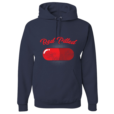 Image of PrintTech Adult Hoodie S / Navy RED PILLED | Adult Hoodie