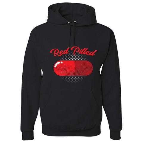 Image of PrintTech Adult Hoodie S / Black RED PILLED | Adult Hoodie