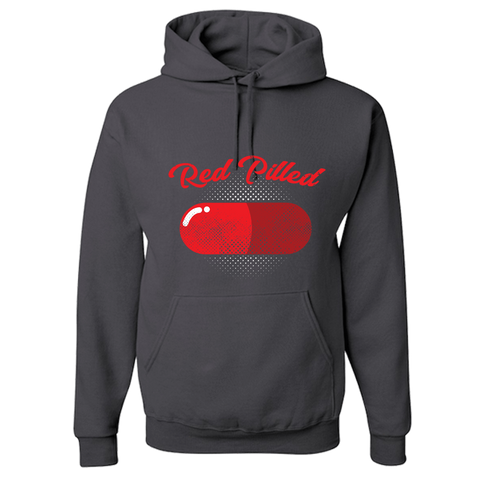Image of PrintTech Adult Hoodie S / Charcoal Grey RED PILLED | Adult Hoodie