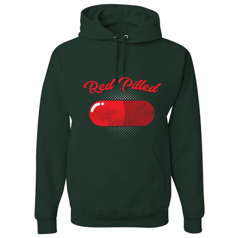 Image of PrintTech Adult Hoodie S / Forest Green RED PILLED | Adult Hoodie