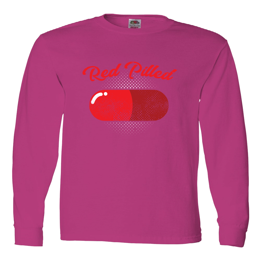 PrintTech Adult Long Sleeve Tee S / Cyber Pink RED PILLED | Adult Long Sleeve Tee
