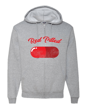 PrintTech Adult Zipper Hoodie S / Athletic Heather RED PILLED | Adult Zipper Hoodie