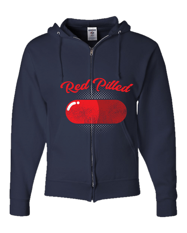 PrintTech Adult Zipper Hoodie S / Navy RED PILLED | Adult Zipper Hoodie