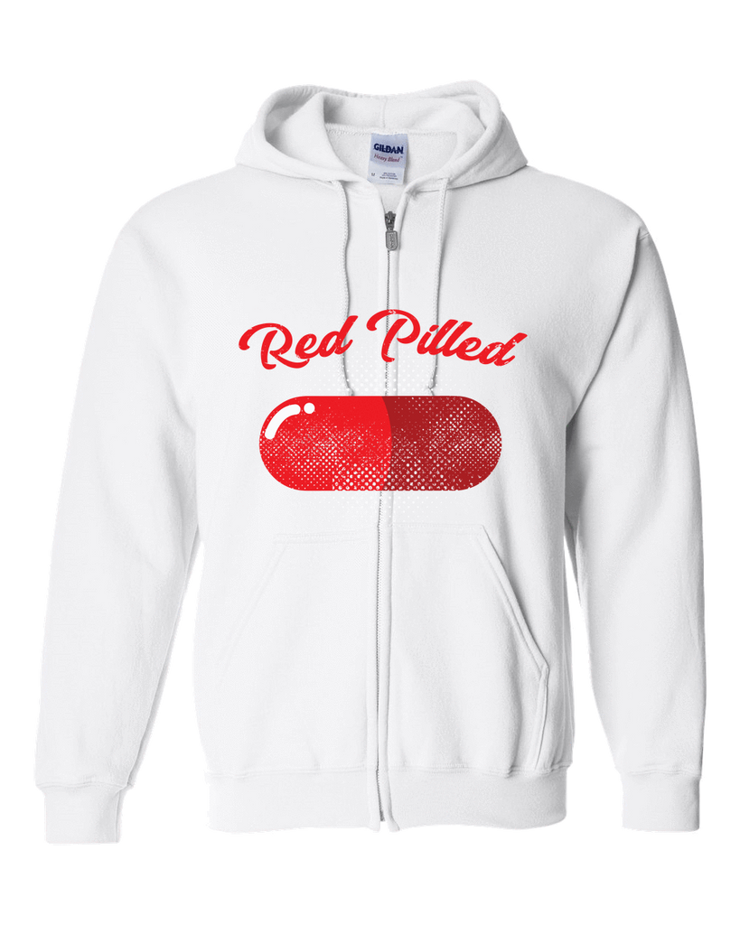 PrintTech Adult Zipper Hoodie S / White RED PILLED | Adult Zipper Hoodie