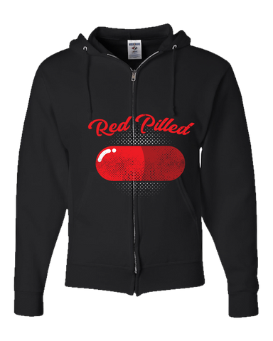 PrintTech Adult Zipper Hoodie S / Black RED PILLED | Adult Zipper Hoodie