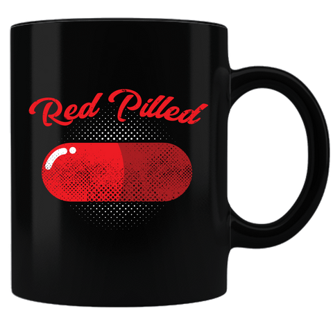 PrintTech Coffee Mug - Black Sublimated Only RED PILLED | Coffee Mug - Black