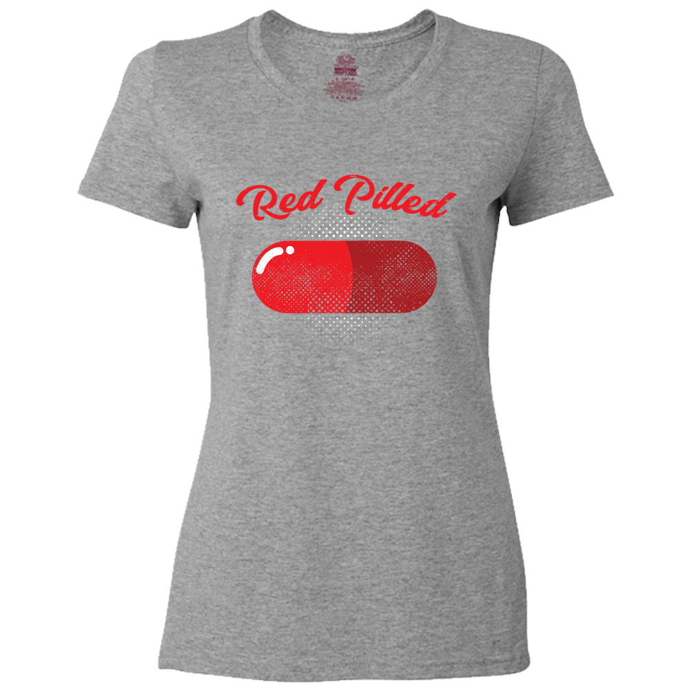 PrintTech Ladies Classic Tees S / Athletic Heather RED PILLED | Ladies Classic Tees