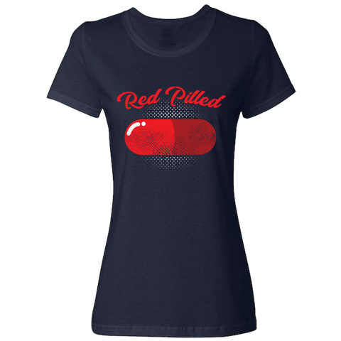 Image of PrintTech Ladies Classic Tees S / Navy RED PILLED | Ladies Classic Tees