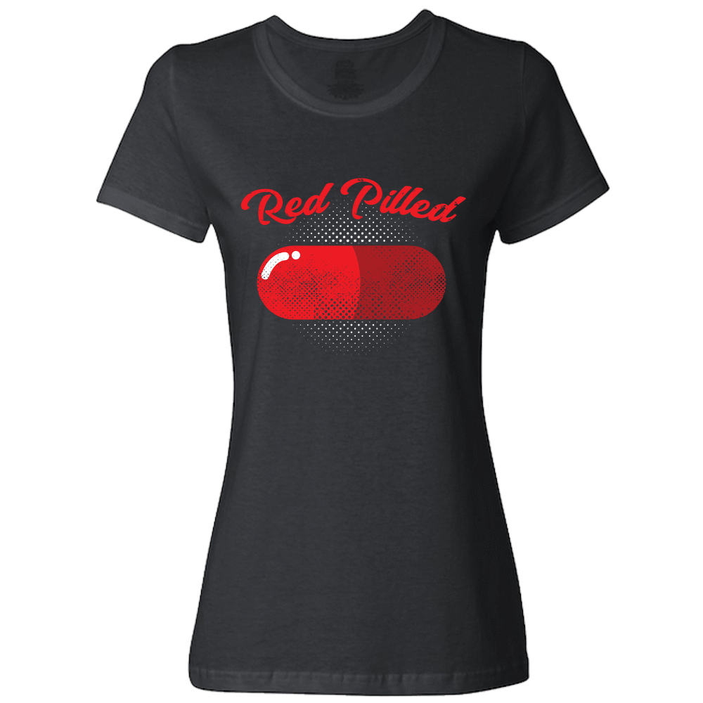 PrintTech Ladies Classic Tees S / Black RED PILLED | Ladies Classic Tees