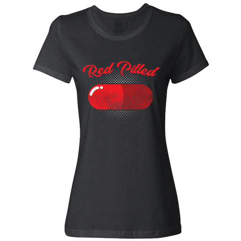Image of PrintTech Ladies Classic Tees S / Black RED PILLED | Ladies Classic Tees