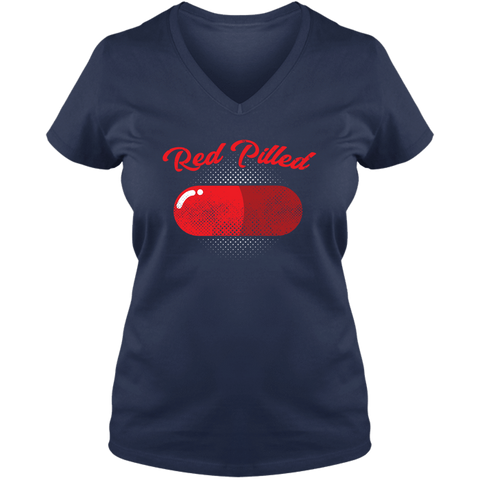 Image of PrintTech Ladies V Neck Tee S / Navy RED PILLED | Ladies V Neck Tee