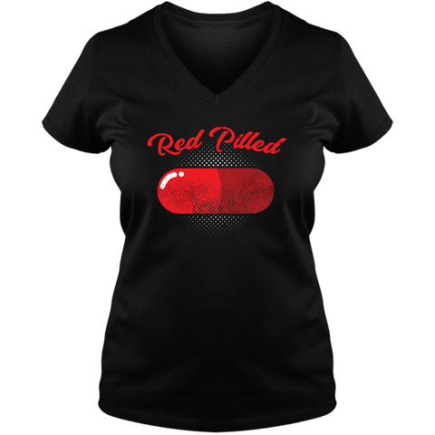 Image of PrintTech Ladies V Neck Tee S / Black RED PILLED | Ladies V Neck Tee