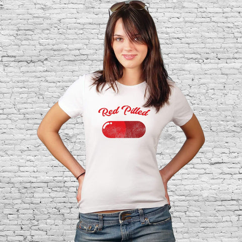 Image of PrintTech Sublimated Unisex T-Shirt S / White RED PILLED | Sublimated Unisex T-Shirt
