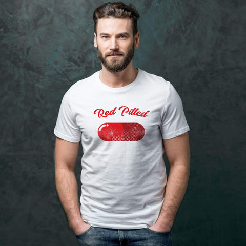 Image of PrintTech Sublimated Unisex T-Shirt M / White RED PILLED | Sublimated Unisex T-Shirt