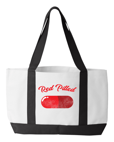 Image of PrintTech Tote Bag OS / White/Black RED PILLED | Tote Bag