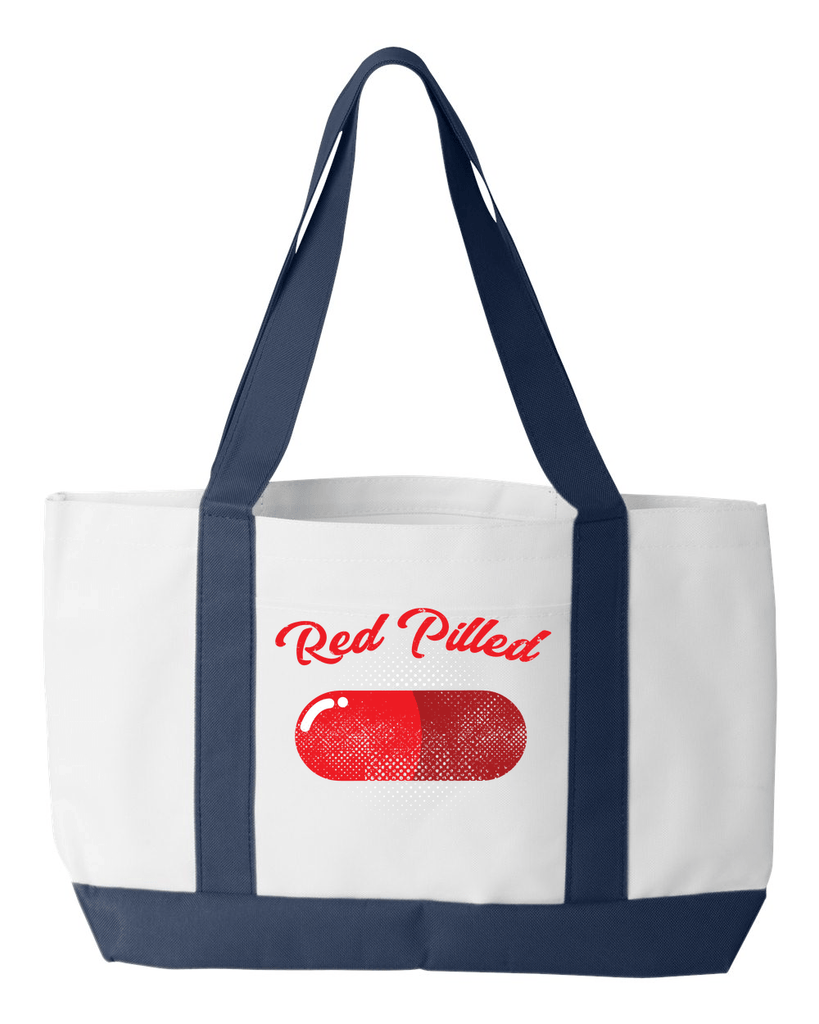 PrintTech Tote Bag OS / White/Navy RED PILLED | Tote Bag