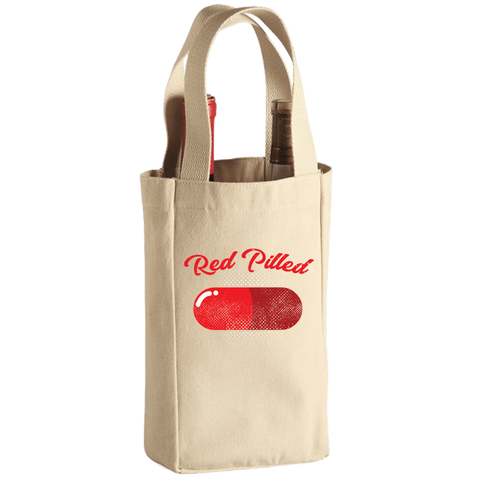 PrintTech Wine Tote Bag - 2 Bottle 1 Bottle / Canvas RED PILLED | Wine Tote Bag - 2 Bottle