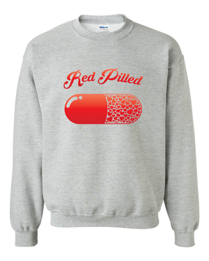 PrintTech Adult Crewneck Sweat Shirt S / Athletic Heather RED PILLED WITH LOVE | Adult Crewneck Sweat Shirt