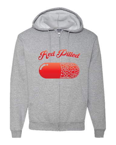 Image of PrintTech Adult Zipper Hoodie S / Athletic Heather RED PILLED WITH LOVE | Adult Zipper Hoodie
