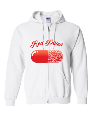 PrintTech Adult Zipper Hoodie S / White RED PILLED WITH LOVE | Adult Zipper Hoodie
