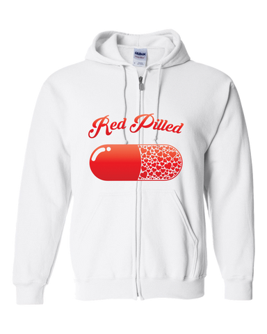 Image of PrintTech Adult Zipper Hoodie S / White RED PILLED WITH LOVE | Adult Zipper Hoodie