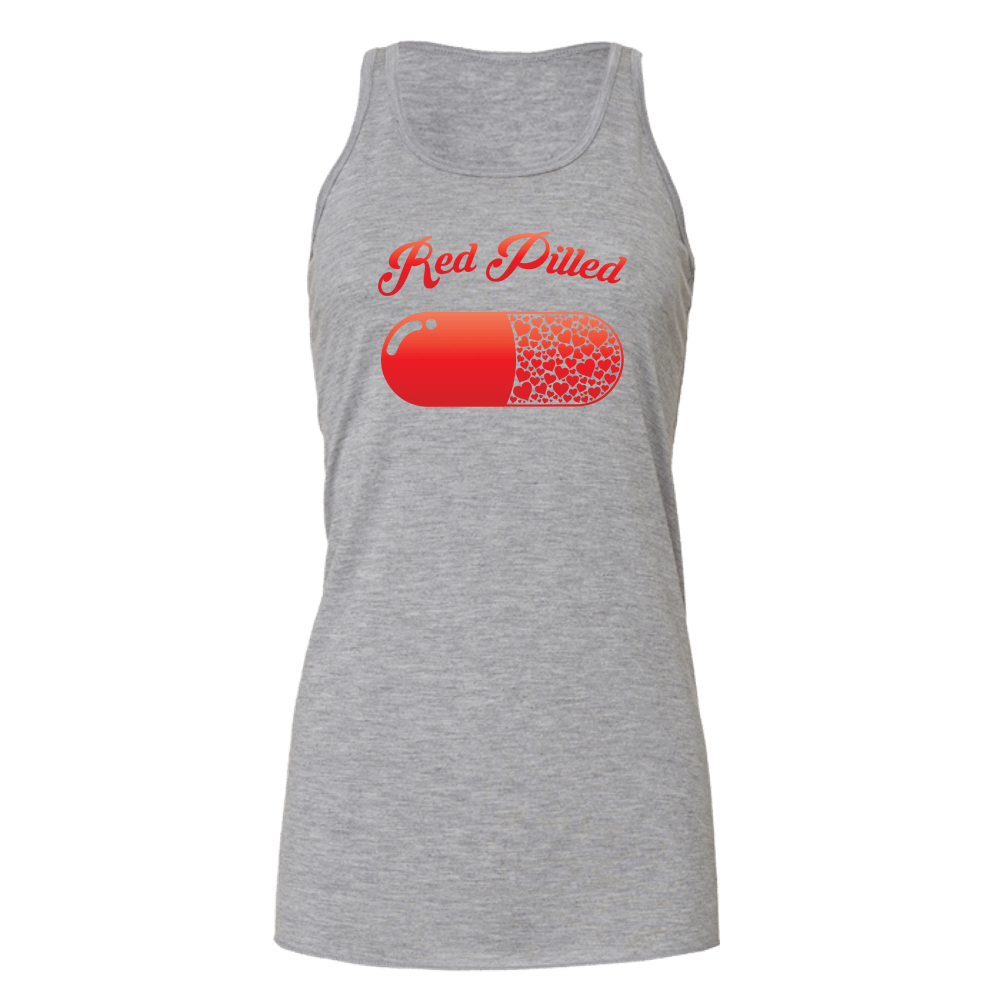 PrintTech Bella Flowy Tank S / Athletic Heather RED PILLED WITH LOVE | Bella Flowy Tank