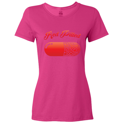 Image of PrintTech Ladies Classic Tees S / Cyber Pink RED PILLED WITH LOVE | Ladies Classic Tees