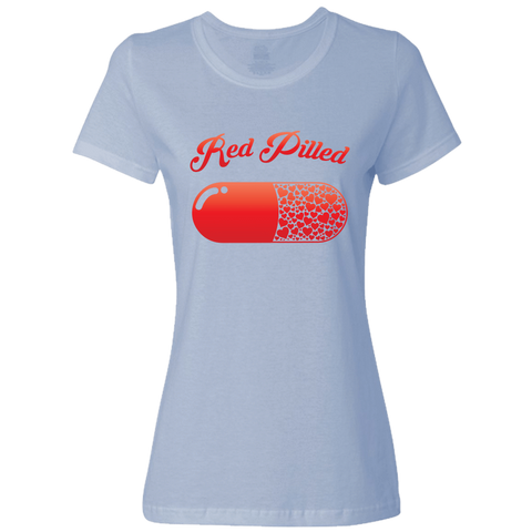 Image of PrintTech Ladies Classic Tees S / Light Blue RED PILLED WITH LOVE | Ladies Classic Tees