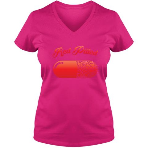 Image of PrintTech Ladies V Neck Tee S / Cyber Pink RED PILLED WITH LOVE | Ladies V Neck Tee