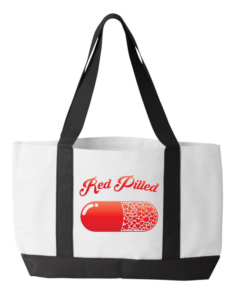 PrintTech Tote Bag OS / White/Black RED PILLED WITH LOVE | Tote Bag