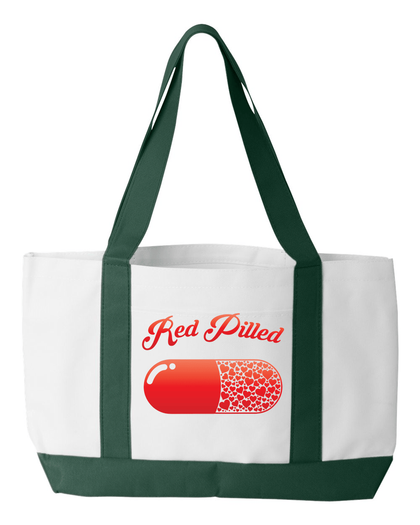 PrintTech Tote Bag OS / White/Forest RED PILLED WITH LOVE | Tote Bag